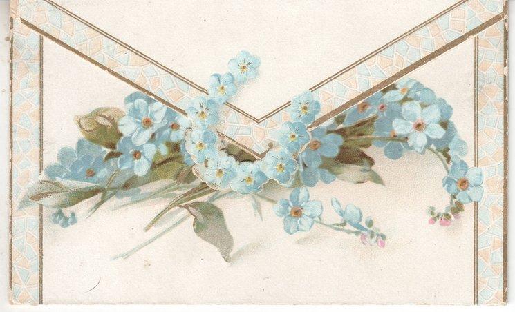 no front title, envelope-like card, bundle of forget-me-nots
