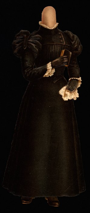 black mourning dress, (hat is missing)