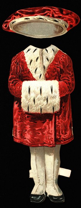 red velvet coat with white fur trim and muff, red hat