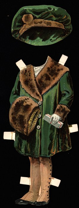 green coat with fur trim, muff, and hat