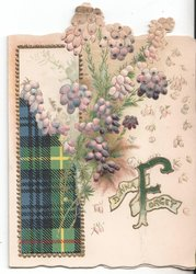 DINNA FORGET pale violet stylised flowers and tartan design