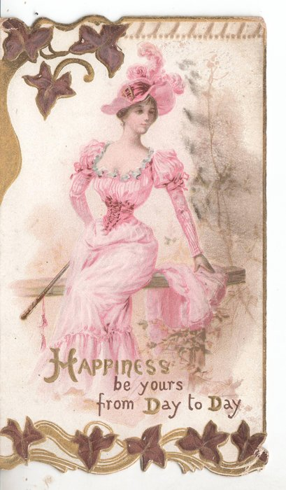 HAPPINESS BE YOURS FROM DAY TO DAY woman sitting on wooden fence facing front looking right, stylised ivy above and below