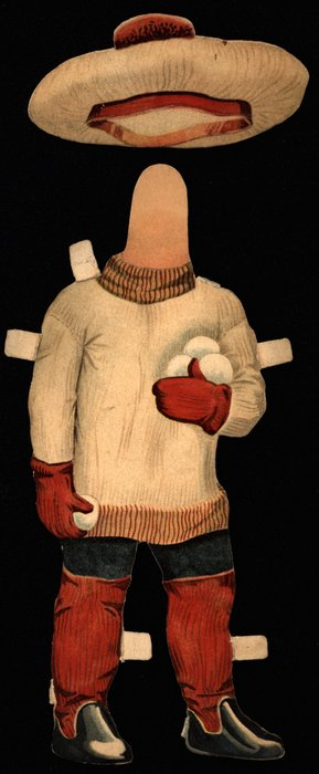 white sweater, red leggings and mittens, and hat