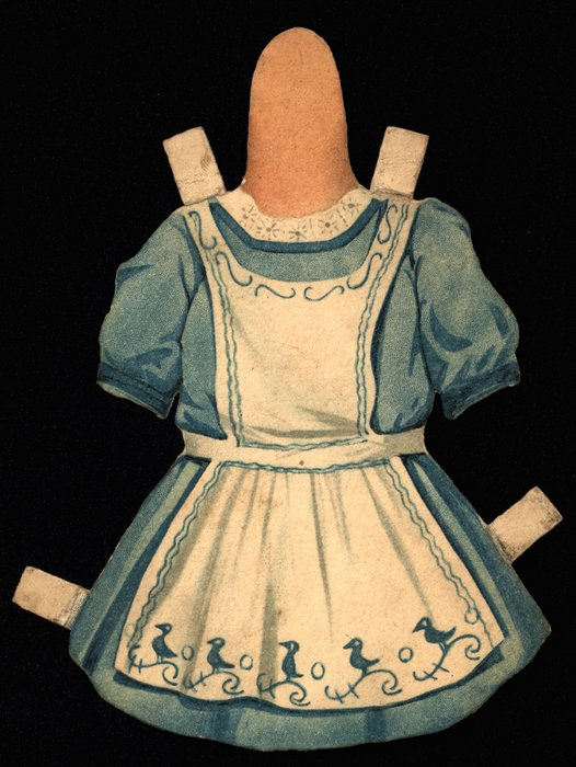 blue dress with a white apron, hat is missing