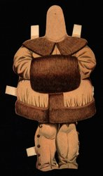 brown coat with fur and muff, hat is missing