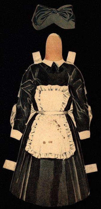 black dress with white apron, black hat