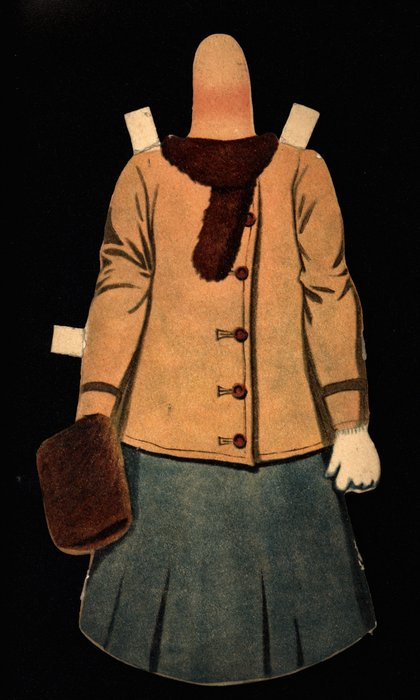 brown coat with a fur scarf and muff, blue skirt, hat is missing