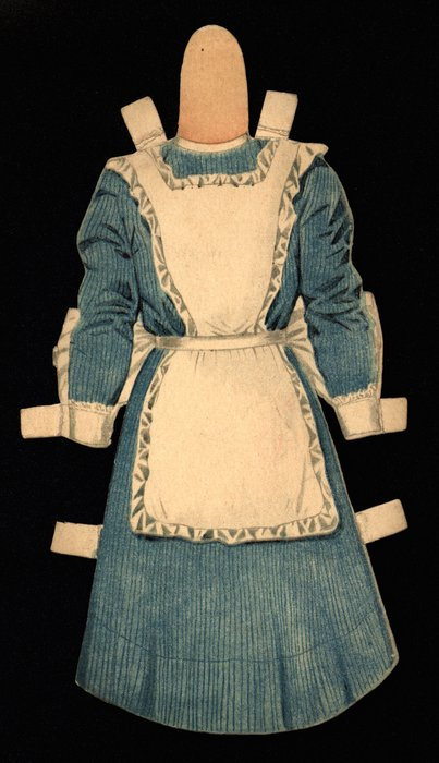 blue dress with white apron, hat is missing