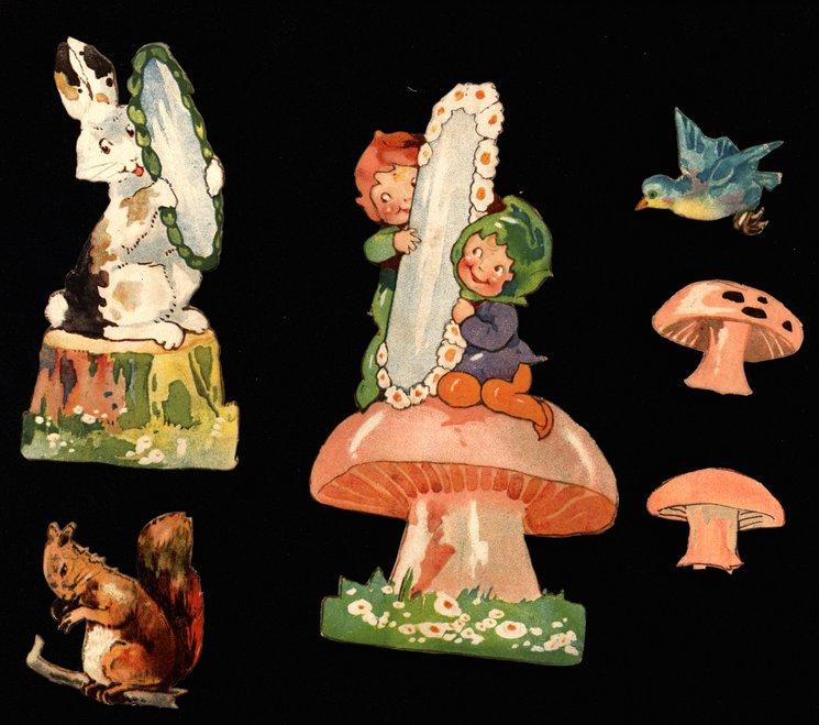 toadstools, rabbit, squirrel, and bluebird