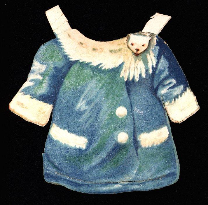 blue jacket with white fur trim
