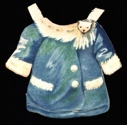 blue jacket with white fur trim