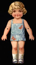 doll with short curly blonde hair and blue shoes
