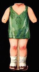 doll in green dress (head missing),