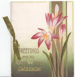 GREETINGS AND ALL GOOD WISHES in gilt, purple crocus to right