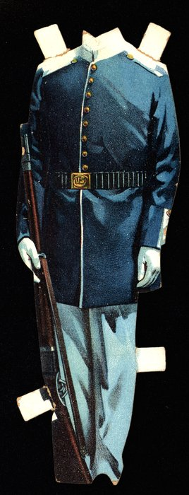 blue military uniform with a rifle gun, hat is missing
