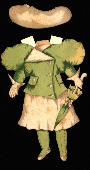 green jacket and white skirt and hat (partially missing)