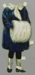 dark blue coat with white fur trim and muff