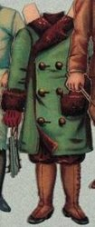 green and brown coat (hat is missing)