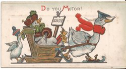 DO YOU MOTOR? three anthropomorphic birds, two on ice skates, one sits in sled being pulled
