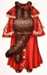 red coat with  fur trim and muff and hat