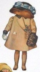 brown coat, muff and hat