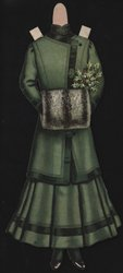 green dress and coat with fur muff, (hat is missing)