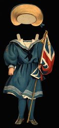 England, blue sailor suit with flag and hat