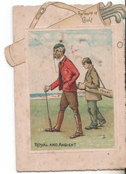 THE GAME OF GOLF / ROYAL AND ANGIENT two men on green holding golf clubs
