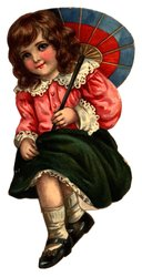 little girl holds umbrella or parasol