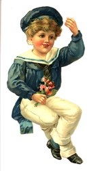 boy in blue with blue hat and holding roses