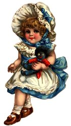 little girl in blue and white dress holds golliwog