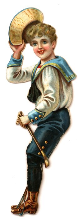 boy rider in blue and white sailor suit tipping his hat and holding a riding crop