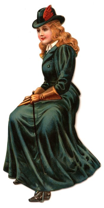 young girl in a long flowing blue coat with long gloves and a riding whip