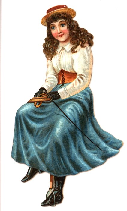 young girl in a white top and a blue skirt with a riding crop