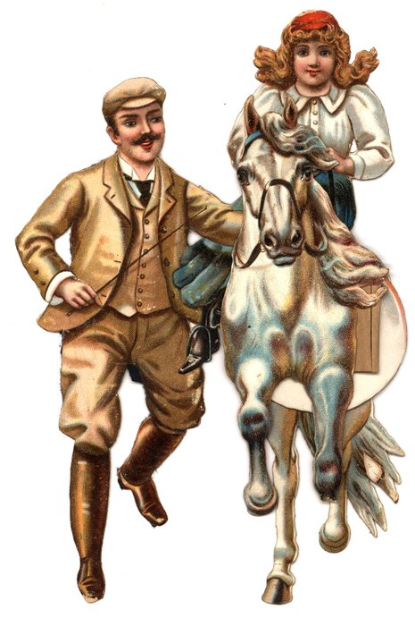 man in brown suit, girl on white horse