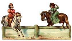 THE JUMPING LESSON, girl in pink on a white horse, girl in green on a brown horse,
