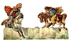 AN INDIAN RACE, Indian with spear on white horse, Indian in blue shirt on pinto horse
