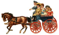 two brown horses pull a cart driven by two boys, two girls sit in the seats behind