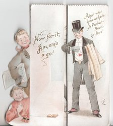 NOW FOR IT, JIM, ERE'S A GO! / AHA! WHAT HAVE WERE HERE - A POCKET-BOOK BY JOVE! two people look at man in tuxedo