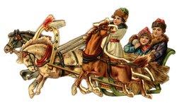 three horses pull a sleigh