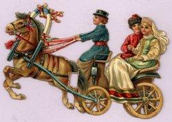 brown horse pulls a cart