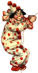 clown in red and white outfit,