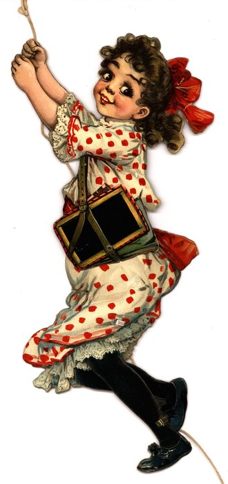 young girl in red and white dress, black stockings, red ribbon in her hair, carrying school books