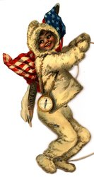 young girl in a white fur suit, U.S. flag, and North Pole sign