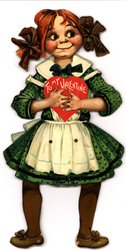girl in green dress with white apron, has red hair in pigtails with brown bows