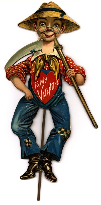 young boy in red and white shirt, blue coveralls, straw hat, and holding a scythe