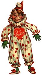 boy in white clown suit with red hearts, green gloves and socks