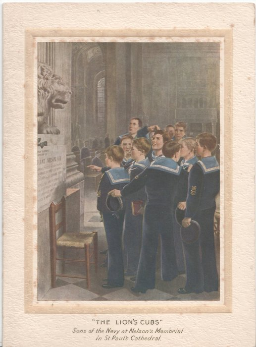 """""""THE LION'S CUBS"""" SONS OF THE NAVY AT NELSON'S MEMORIAL IN ST. PAUL'S CATHEDRAL boys in Navy uniform stand at memorial"""