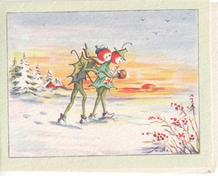 no front title, two anthropomorphic holly people walk through snowy scene