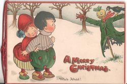 A MERRY CHRISTMAS. / WHO'S AFRAID! boy and girl look at scarecrow and crow